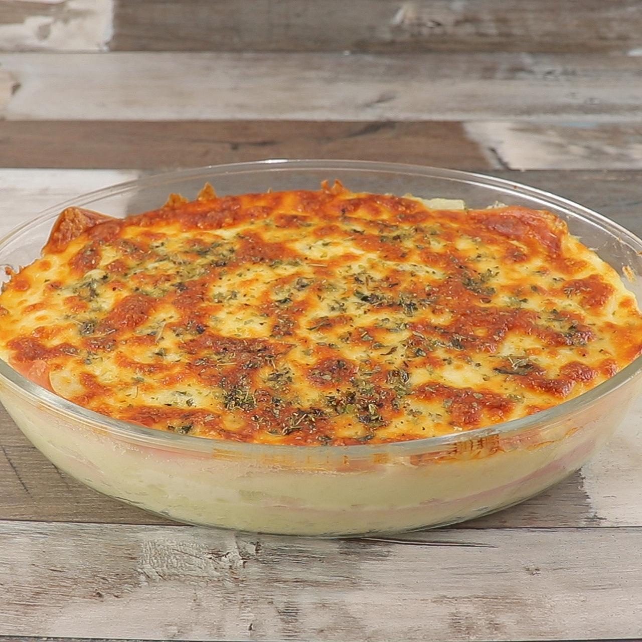 Purê de Batata ao Forno com Presunto e Queijo, Incrivelmente Deliciosa